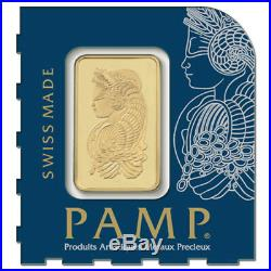 Lot of 5 1 gram Gold Bar PAMP Suisse Lady Fortuna. 9999 Fine In Assay from