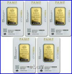 Lot of 5 1 oz Gold Bar PAMP Suisse Lady Fortuna Veriscan. 9999 Fine