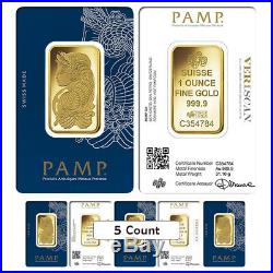 Lot of 5 1 oz Gold Bar PAMP Suisse Lady Fortuna Veriscan. 9999 Fine (In Assay)