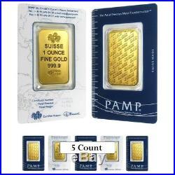 Lot of 5 1 oz Gold Bar PAMP Suisse New Design (In Assay)