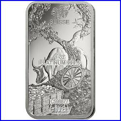 Lot of 5 1 oz PAMP Suisse Year of the Ox Platinum Bar (In Assay)