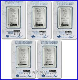 Lot of 5 1 oz Pamp Suisse Platinum Bar. 9995 Fine With Assay Certificate