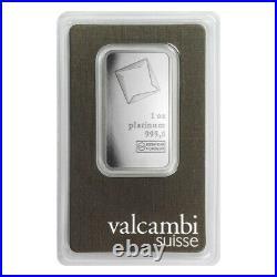 Lot of 5 1 oz Platinum Bar Valcambi Suisse. 9995 Fine (In Assay)