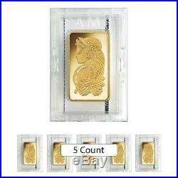 Lot of 5 10 oz PAMP Suisse Lady Fortuna Gold Bar. 9999 Fine (In Assay)