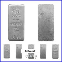Lot of 5 10 oz PAMP Suisse Silver Cast Bar. 999 Fine (withAssay)