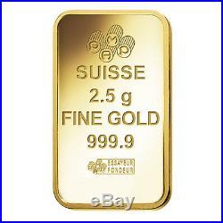Lot of 5 2.5 gram Gold Bar PAMP Suisse Lady Fortuna Veriscan. 9999 Fine In
