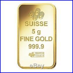 Lot of 5 5 gram Gold Bar PAMP Suisse Lady Fortuna Veriscan. 9999 Fine In Assay
