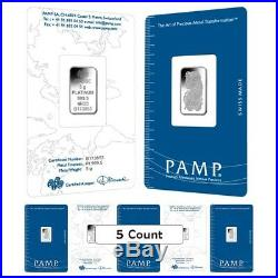 Lot of 5 5 gram PAMP Suisse Lady Fortuna Platinum Bar. 9995 Fine (In Assay)