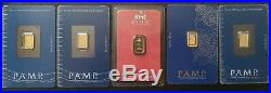 Lot of 5 Gold 1 Gram PAMP / RMC. 9999 Fine Sealed Bars