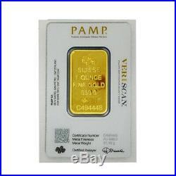 Lot of 5 Gold 1 oz PAMP Gold Suisse Lady Fortuna. 9999 Fine Sealed Bars