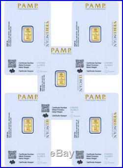 Lot of 5 PAMP Fortuna 1 gram. 9999 Gold Bars Sealed withAssay DELAY SKU30873