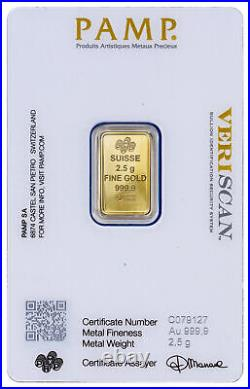 Lot of 5 PAMP Suisse 2.5 Gram Gold Bar Fortuna With VeriScan Certificate
