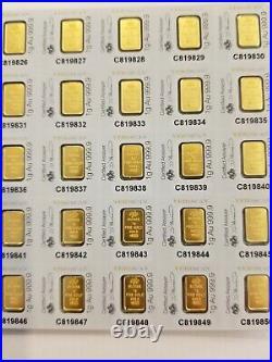 MULTIGRAM+25 x 1 gram Gold Bars Pamp Suisse Fortuna with VERISCAN. 9999 Fine 24k