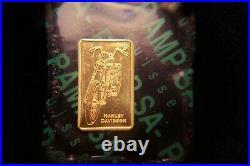 Mint Sealed Super Rare 1 Gram Harley Davidson Pamp Suisse 24kt Gold Bar 999.9