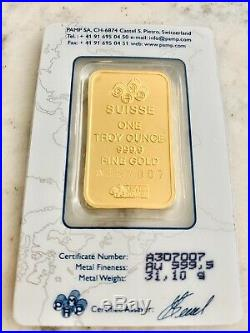 NEW Authentic Pamp Suisse 1 Ounce (Oz.) Gold Bar. 9999 Pure in SEALED Assay