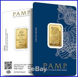 NEW PAMP SUISSE 10 Gram Gold Bar NEW 24KT. 9999 In VERISCAN Assay Card