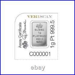 NEW PAMP SUISSE Platinum 1 Gram Bar from Platinum Multigram. 9999 Fine