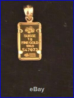 NWT! 1 gram 24k Pamp Suisse in 14k necklace pendant! NICE