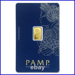 New- 1 Gram Pure Gold Bar Pamp Suisse Fortuna Veriscan -assay- $109.88