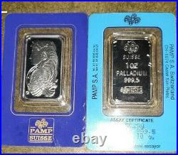 One (1) Pamp Suisse 1 oz Palladium Bullion Certified Assay in Original Packaging