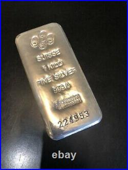 One Kilo PAMP Suisse Silver Bar