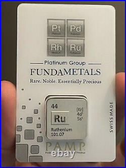 Only 500 Minted New Pamp Suisse 1/2 Oz Ruthenium Bar Sealed In Assay Ru