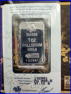 PALLADIUM Bar 1 oz With Pamp Suisse Assay Certificate