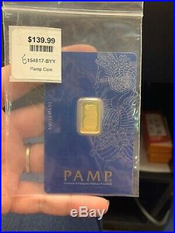 PAMP 2.5 Gram Gold Bar Fine Gold 999.9 Pure 154817 154818