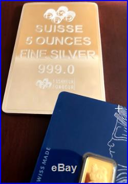 PAMP 5 Ounce Silver Bar. 999 Certificated Includes 2.5 g Pamp Gold Investment