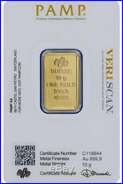 PAMP SUISSE 10 Gram Gold Bar NEW 24KT. 9999 In VERISCAN Security Assay Card
