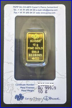 PAMP SUISSE 10g Fortuna Gold Bar in Assay
