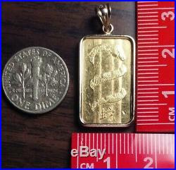 PAMP SUISSE 5 gram 24K gold bar in 14K bezel. Large pendant/ingot/charm/exonumia