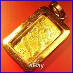 PAMP SUISSE 5 gram 24K gold bar in 5 gram 10K pendant. 999 ingot/charm/exonumia