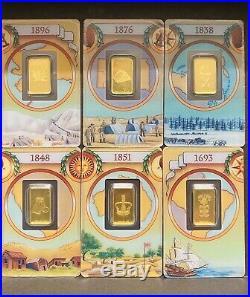 PAMP SUISSE LEGENDARY GOLD RUSHES OF THE WORLD 5 Gram Bar Set! 6 Bars RARE