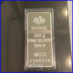 PAMP SUISSE Lady Fortuna 500g Half kilo. 999 SILVER BAR Case and Assay RARE