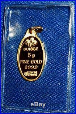 PAMP SUISSE Pure Solid Gold FIVE GRAMS INGOT Bar PENDANT. In Sealed Capsule