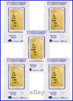 PAMP Suisse 1 Oz Gold Bar Plain Design Lot of 5 (Sealed WithAssay Cert) SKU40113