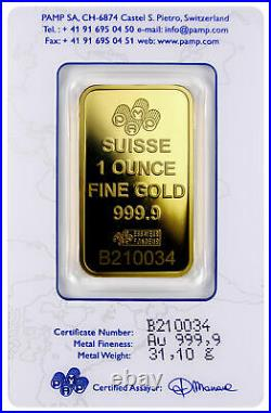 PAMP Suisse 1 Troy oz. 9999 Gold Fortuna Bar VeriScan Assay Certificate