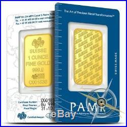 PAMP Suisse 1 oz. 9999 Fine Gold Bar Sealed in Assay Card