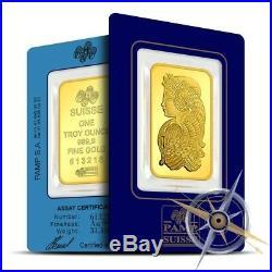 PAMP Suisse 1 oz. 9999 Gold Lady Fortuna Design Bar/Ingot Sealed in Assay Card