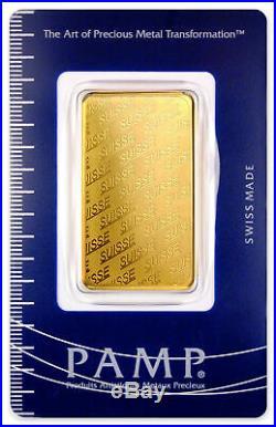 PAMP Suisse 1 oz Gold Bar Plain Design Sealed w Assay Cert SKU32617