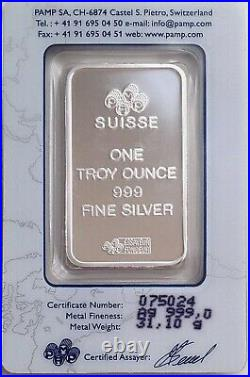 PAMP Suisse 1 oz silver bar in assay LADY FORTUNA 999 fine silver