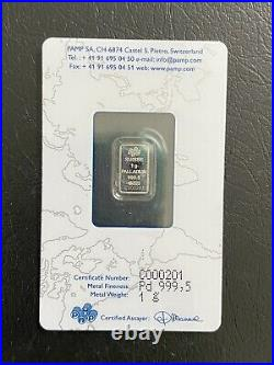 PAMP Suisse 1g Palladium Bar. 999 Assay Card Collectible Investment Gift