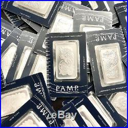 PAMP Suisse 1oz Fortuna Silver Bar. 999 Fine withAssay Lot of 5 sequential