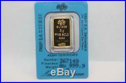 PAMP Suisse 5 Gram 999.9 Gold Bar Fortuna Assay Certificate 367149 Open case