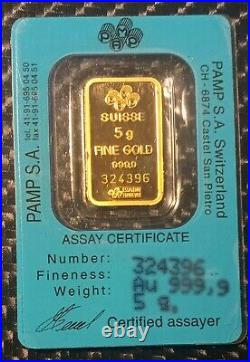 PAMP Suisse 5 Gram 999.9 Gold Bar Fortuna Assay rare