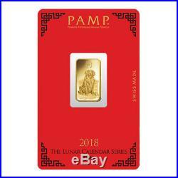 PAMP Suisse 5 Gram Gold Bar 2018 Dog Design
