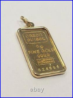PAMP Suisse 5g 999.9 Fine Gold Bar in 14k Yellow Gold Charm Pendant Bezel