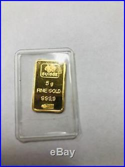 PAMP Suisse 5g Gram 999.9 Fine Gold Bar