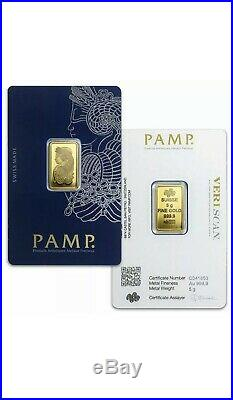 PAMP Suisse 5g Gram 999.9 Fine Gold Bar INVESTMENT GIFT FREE TRACKED UK P+P